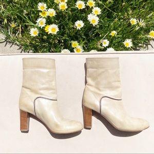 CHLOE Mid-Calf Cream Slip On Boots